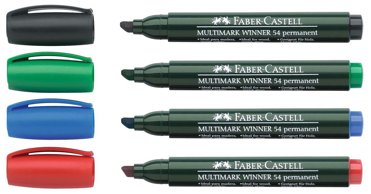 Faber-Castell Маркер перманентный Winner 54 скошенный наконечник в пласт футляре 4 шт набор цветов157904эргономичная область захвата • контрастные цвета, быстрое высыхание, без сильного запаха, светостойкие • устойчивы к воздействию воды и стиранию • скошенный наконечник • 4 интенсивных цвета