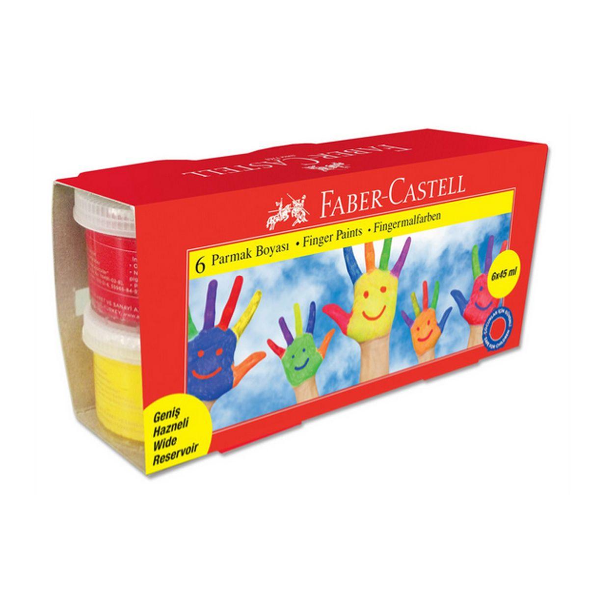 Faber-Castell Пальчиковые краски в карт коробке 6 шт 45 мл160422для использования на бумаге и картоне с пальцем, щеткой или губкой • водорастворимые, яркие и насыщенные цвета • богатая цветовая гамма • идеальны для развития детского творчества