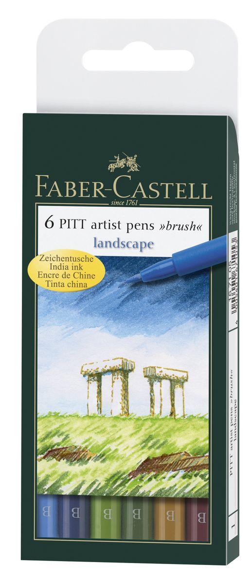 Faber-Castell Капиллярная ручка с кисточкой Pitt Artist Pens Landscape 6 цветов167105Одноразовые капиллярные ручки с кисточками Faber-Castell Landscape станут незаменимым инструментом для начинающих и профессиональных художников. В набор входят 6 ручек естественных оттенков - голубой, синий, зеленый, темно-зеленый, охра, терракотовый. Заостренные кончики ручек позволяют проводить тончайшие линии. Чернила не выцветают на свету , не стираются и не размываются водой, не имеют неприятного запаха и pH-нейтральны. Набор художественных капиллярных ручек с кисточками - это практичный и современный художественный инструмент, который поможет вам в создании самых выразительных произведений.