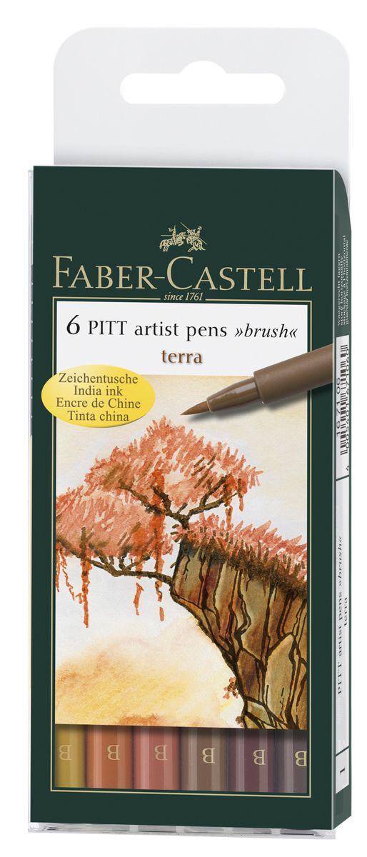 Faber-Castell Капиллярные ручки с кисточкой Pitt Artist Pens Terra 6 цветов167106Одноразовые капиллярные ручки с кисточками Faber-Castell Terra станут незаменимым инструментом для начинающих и профессиональных художников. В набор входят 6 ручек теплых естественных оттенков - светло-желтый, оранжевый, светло-коричневый, терракотовый, коричневый и телесно-бежевый. Заостренные кончики ручек позволяют проводить тончайшие линии. Чернила не выцветают на свету, не стираются и не размываются водой, не имеют неприятного запаха и pH-нейтральны. Набор художественных капиллярных ручек с кисточками - это практичный и современный художественный инструмент, который поможет вам в создании самых выразительных произведений.