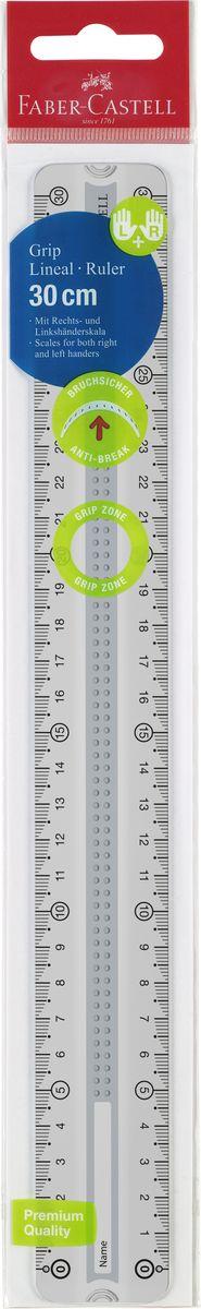 Faber-Castell линейка GRIP 30 см пластмассовый чехол171030прозрачные двухсторонние линейки с Grip дизайном • 3D Grip-зона для удобного захват • идеально подходит для левшей и правшей • скошенные края для удобного захвата линейки • скошенные углы линейки • доступна в сером, зеленом и синем цвете