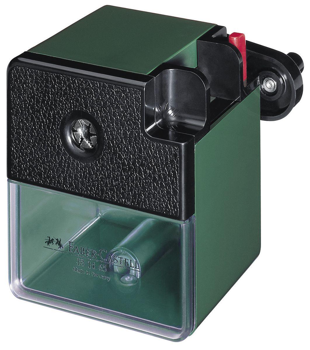 Faber-Castell Точилка настольная цвет темно-зеленый181463Точилка Faber-Castell - удобный и практичный инструмент в повседневной офисной работе. Точилка из высококачественного пластика оснащена рукояткой с механизмом кругового вращения и съемным контейнером для стружки. Вращающийся, остро заточенный металлический нож точилки обеспечивает бережную и качественную заточку круглых, шестигранных и трехгранных карандашей. В комплекте с точилкой предусмотрено крепление к столу.