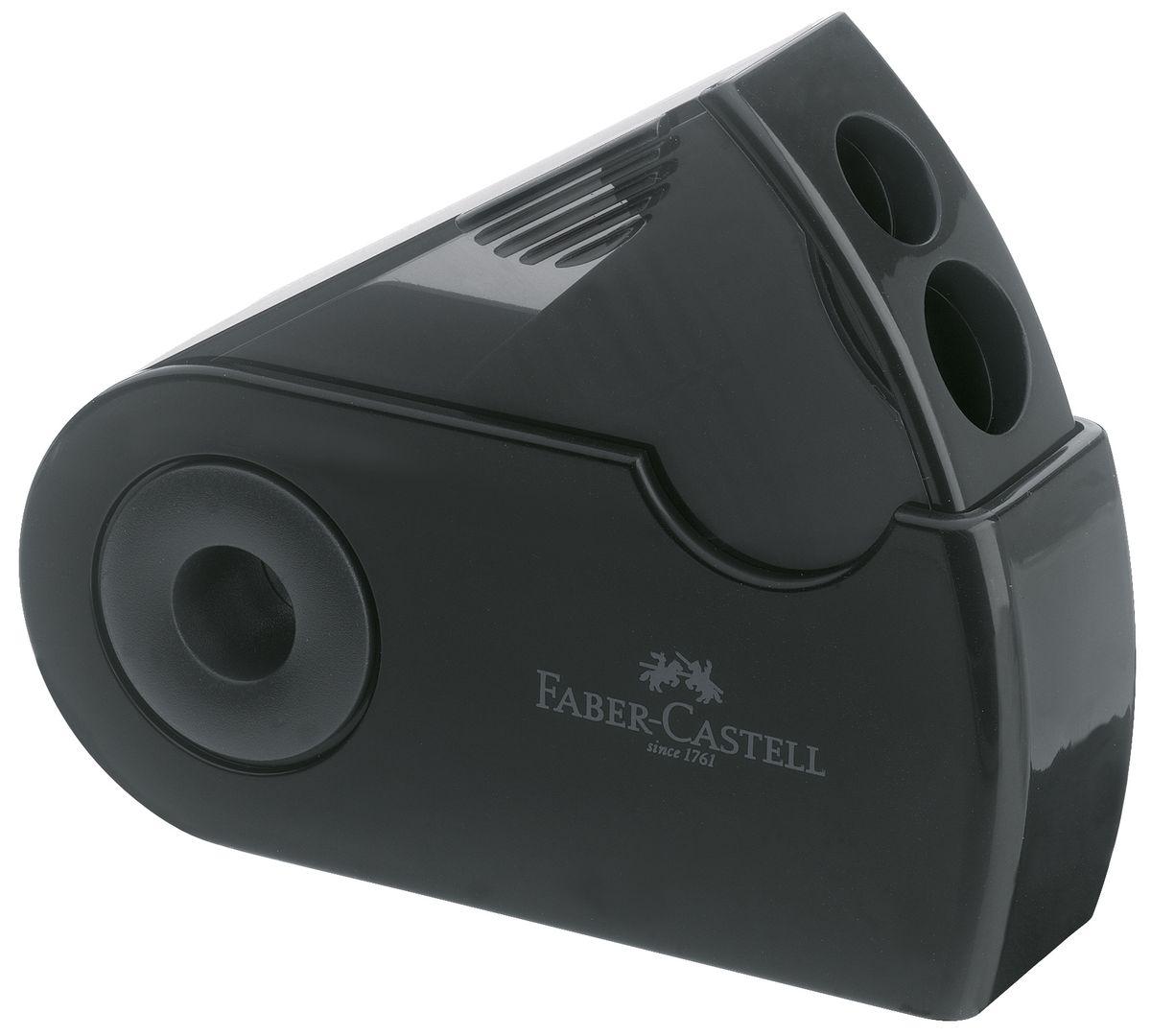 Faber-Castell Точилка двойная Sleeve цвет черный182700Двойная точилка Faber-Castell Sleeve выполнена из прочного пластика. В точилке имеются два отверстия для карандашей разного диаметра. Подходит для различных видов карандашей. Эргономичная форма контейнера обеспечивает стабильное положение кисти. Карандаш затачивается легко и аккуратно, а опилки после заточки остаются в специальном контейнере повышенной вместимости.