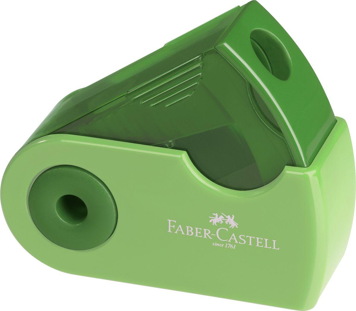 Faber-Castell Точилка Sleeve цвет зеленый182712Точилка Faber-Castell Sleeve выполнена из прочного пластика. В точилке имеются одной отверстие для различных видов карандашей. Эргономичная форма контейнера обеспечивает стабильное положение кисти. Карандаш затачивается легко и аккуратно, а опилки после заточки остаются в специальном контейнере повышенной вместимости.