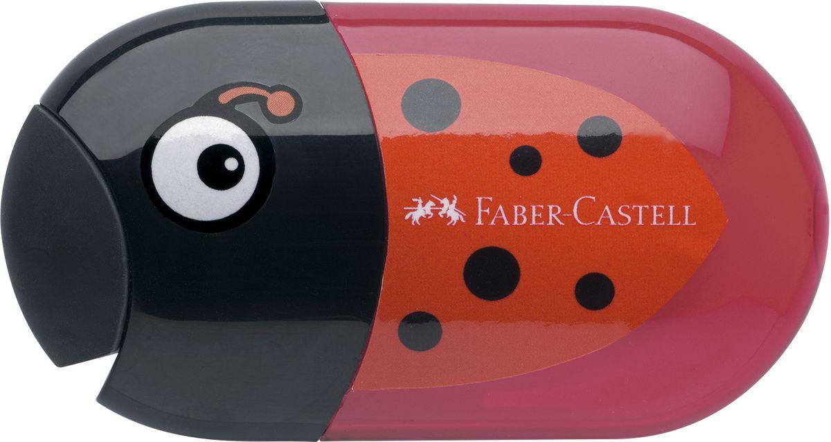 Faber-Castell Точилка с контейнером и ластиком Божья коровка183526Точилка с двумя отверстиями Faber-Castell Божья коровка - это качественная простая точилка с контейнером для стружек и ластиком. Точилка выполнена в привлекательном дизайне и предназначена для всех типов карандашей.