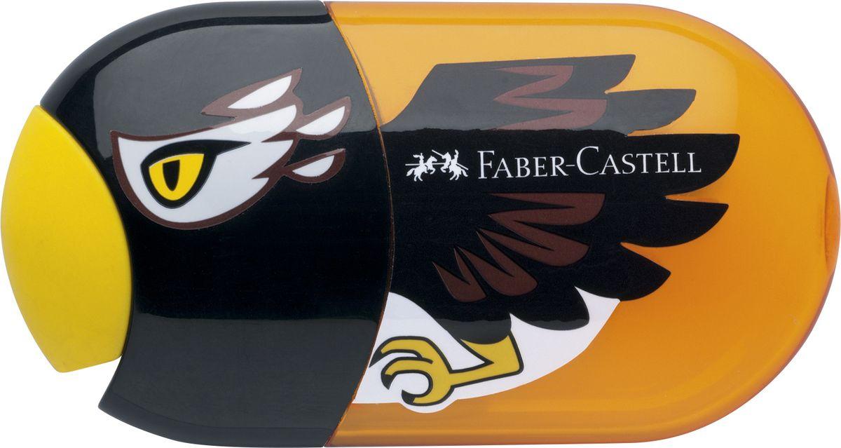 Faber-Castell Точилка с контейнером и ластиком Орел183527Точилка с двумя отверстиями Faber-Castell - это качественная простая точилка с контейнером для стружек и ластиком. Точилка выполнена в привлекательном детском дизайне в виде орла и предназначена для всех типов карандашей.