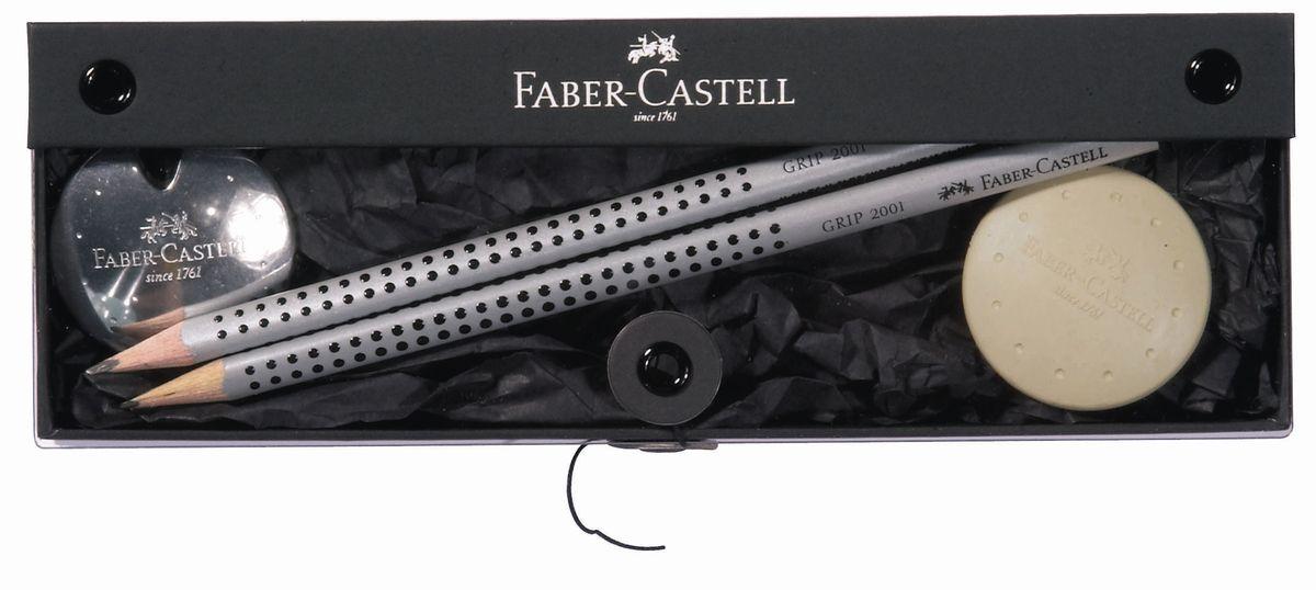 Faber-Castell Набор UFO точилка ластик и 2 графитовых карандаша в подарочной коробке 4 шт188302точилка, ластик UFO и 2 графитных карандаша GRIP 2001 в элегантном подарочном наборе