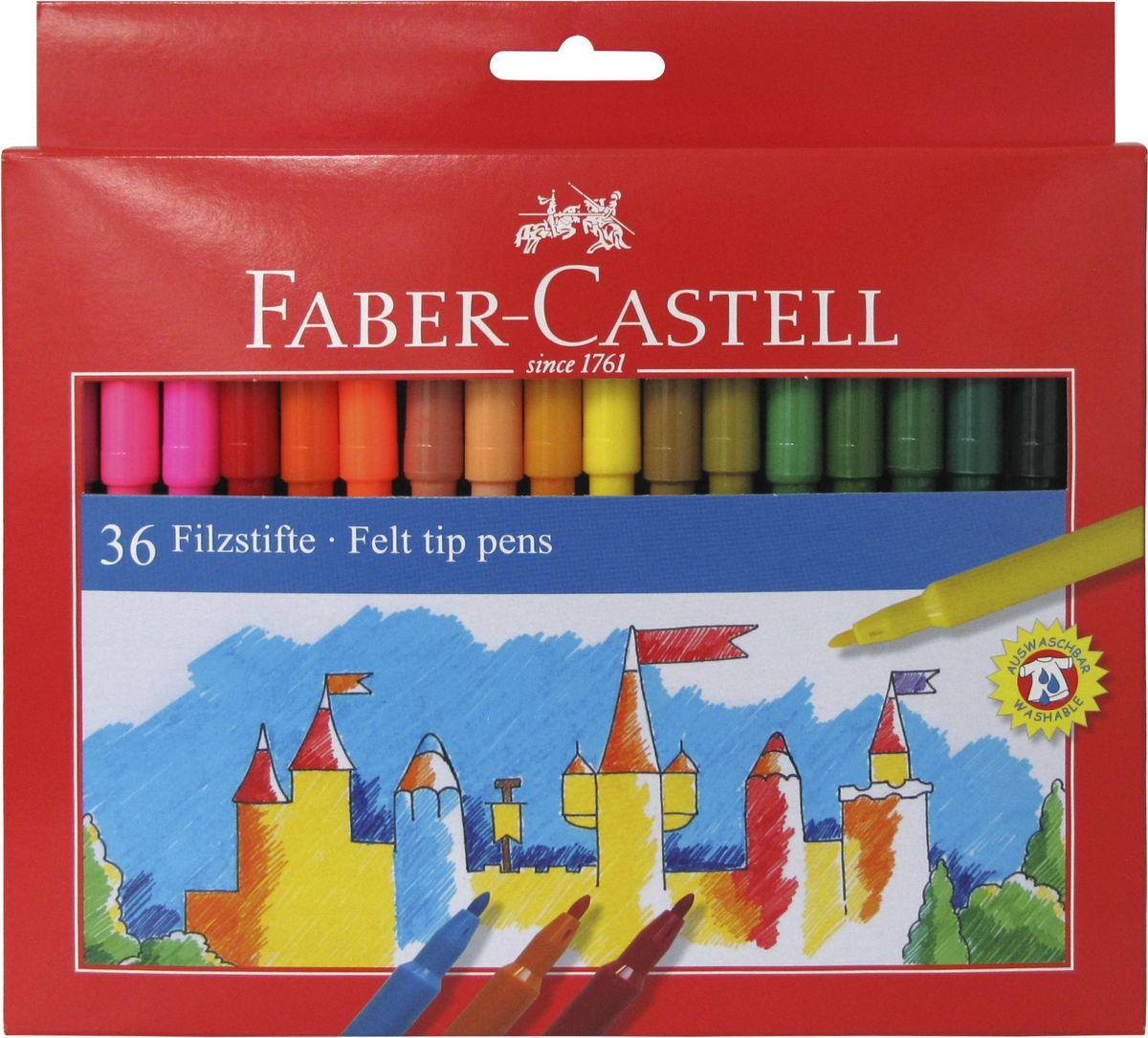 Faber-Castell Фломастеры 36 цветов554236Фломастеры Faber-Castell помогут маленькому художнику раскрыть свой творческий потенциал, рисовать и раскрашивать яркие картинки, развивая воображение, мелкую моторику и цветовосприятие. В наборе 36 разноцветных фломастеров. Корпусы выполнены из пластика. Чернила на водной основе окрашены с использованием пищевых красителей, благодаря чему они полностью безопасны для ребенка и имеют яркие, насыщенные цвета. Если маленький художник запачкался - не беда, ведь фломастеры отстирываются с большинства тканей. Вентилируемый колпачок надолго сохранит яркость цветов.