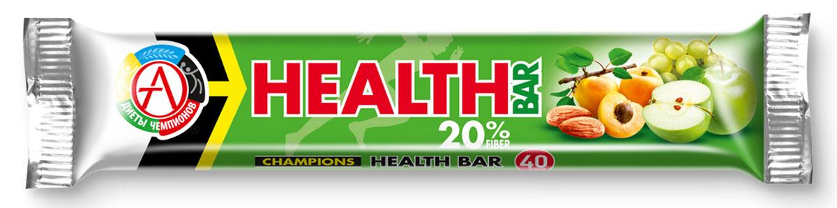 Спортивный батончик Сhampions Diet Champions Health Bar, фруктово-ореховый, 40 гБП-00000520Батончик фруктово-ореховый «Champions Health Bar» Обогащен пищевыми волокнами (60 % от суточной потребности в батончике), что позволит нормализовать работу кишечника и укрепит иммунитет при регулярном потреблении. Компоненты: сухофрукты: виноград, яблоко, абрикос; пищевые волокна, ядра ореха миндаля, облатки вафельные (пшеничная мука, картофельный крахмал, растительное масло), кокосовое масло, эмульгатор (лецитин), антиоксидант (аскорбиновая кислота), ароматизатор идентичный натуральному «Яблоко». Спортивные батончики Health Bar – настоящая находка среди продуктов питания. Это эффективный и, главное, полезный и удобный заменитель питания, концентрирующий в себе легкоусвояемые ценные протеины, углеводы, аминокислоты, минералы, витамины и другие пищевые вещества. Такие продукты спортивного питания могут дополнить рацион человека и служить в качестве полезного перекуса. Батончики - это оптимальное решение для всех людей, кто занимается спортом...