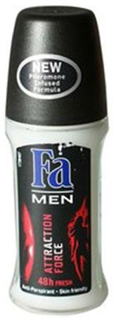 FA MEN Дезодорант роликовый Сила Притяжения, 50 мл12085429Дезодорант антиперспирант FA MEN Сила Притяжения - Откройте для себя длительную део-защиту на 48 ч и секрет неотразимого обаяния благодаря особой формуле с феромонами. Эффективная защита против запаха пота на 48 часа и длительная и притягательная свежесть. - Без белых пятен - Бережная формула защищает и заботится о коже - Хорошая переносимость кожей подтверждена дерматологами. Применение: наносить антиперспирант на кожу в области подмышек. Не наносить на раздраженную или поврежденную кожу. Также почувствуйте притягательную свежесть, принимая душ с гелем для душа Fa Men. Более подробную информацию можно найти на сайте: http://www.ru.fa.com/fa-men/ru/ru/home/deodorant/attractive-power/deo-roll-on-attractive-power.html
