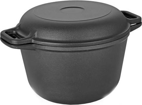 Казан Vari Litta, с крышкой-сковородой, цвет: черный, 5 лL90005Серия посуды от Vari Litta – классическая литая посуда (дно до 6 мм, стенки до 4,5 мм) с качественным и безопасным антипригарным покрытием XYLAN. Для изготовления заготовок используется метод кокильного литья, что позволяет получить высококачественную тяжелую посуду и гарантирует долговечность изделия. Равномерное распределение и длительное сохранение тепла за счет утолщенного дна позволяет готовить блюда любой степени сложности. Жаростойкое внешнее покрытие позволяет использовать сковороды на стеклокерамических поверхностях. Посуду линии Litta можно мыть в посудомоечных машинах.Не выделяет вредных веществ. Не содержит PFOA. Посуда Litta прослужит на вашей кухне долгие годы!