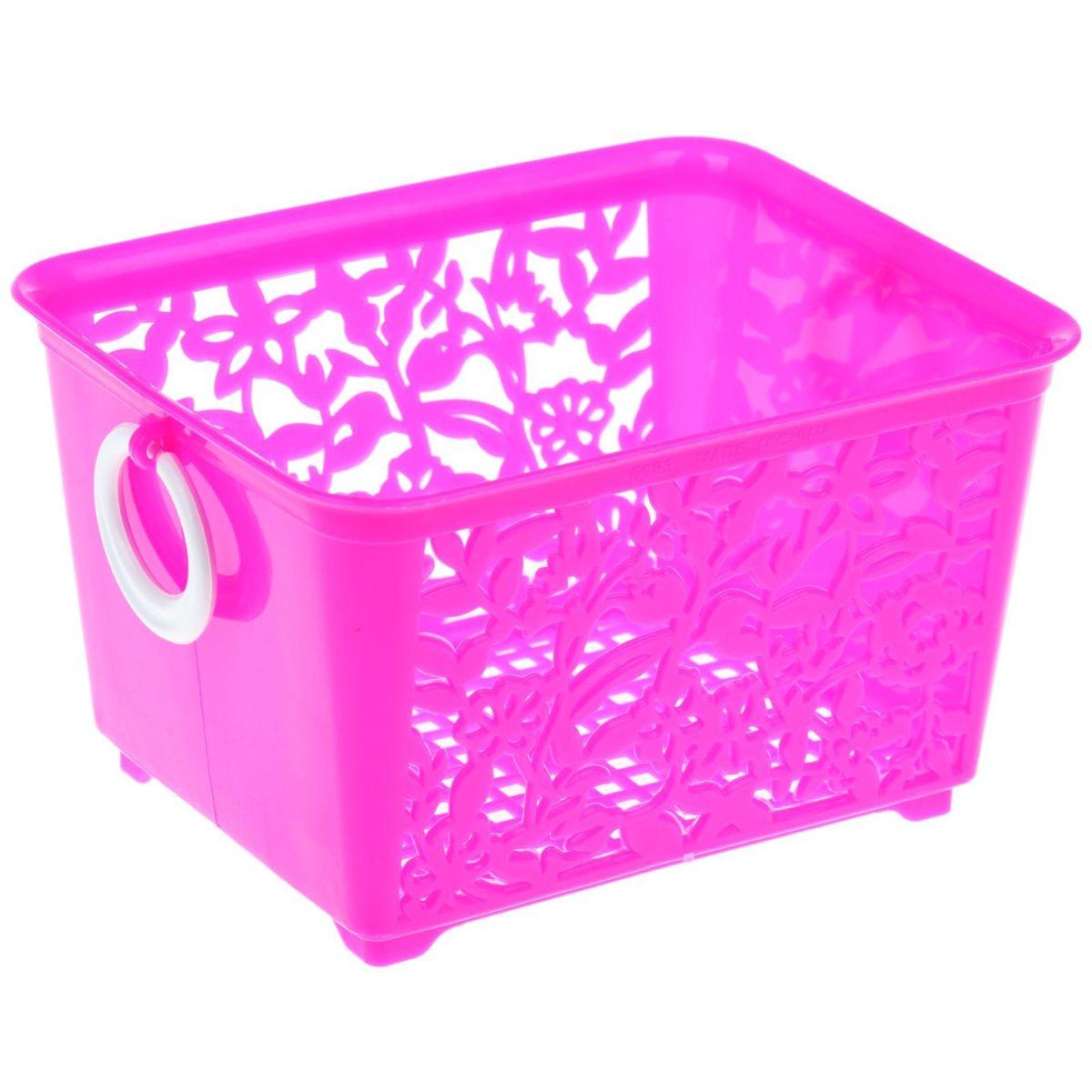 Корзинка для мелочей с ручками, 14*11,5*8 см, 184975 цвет: розовый184975Корзинка для мелочей с ручками, 14*11,5*8 см, 184975 Материал: Пластик