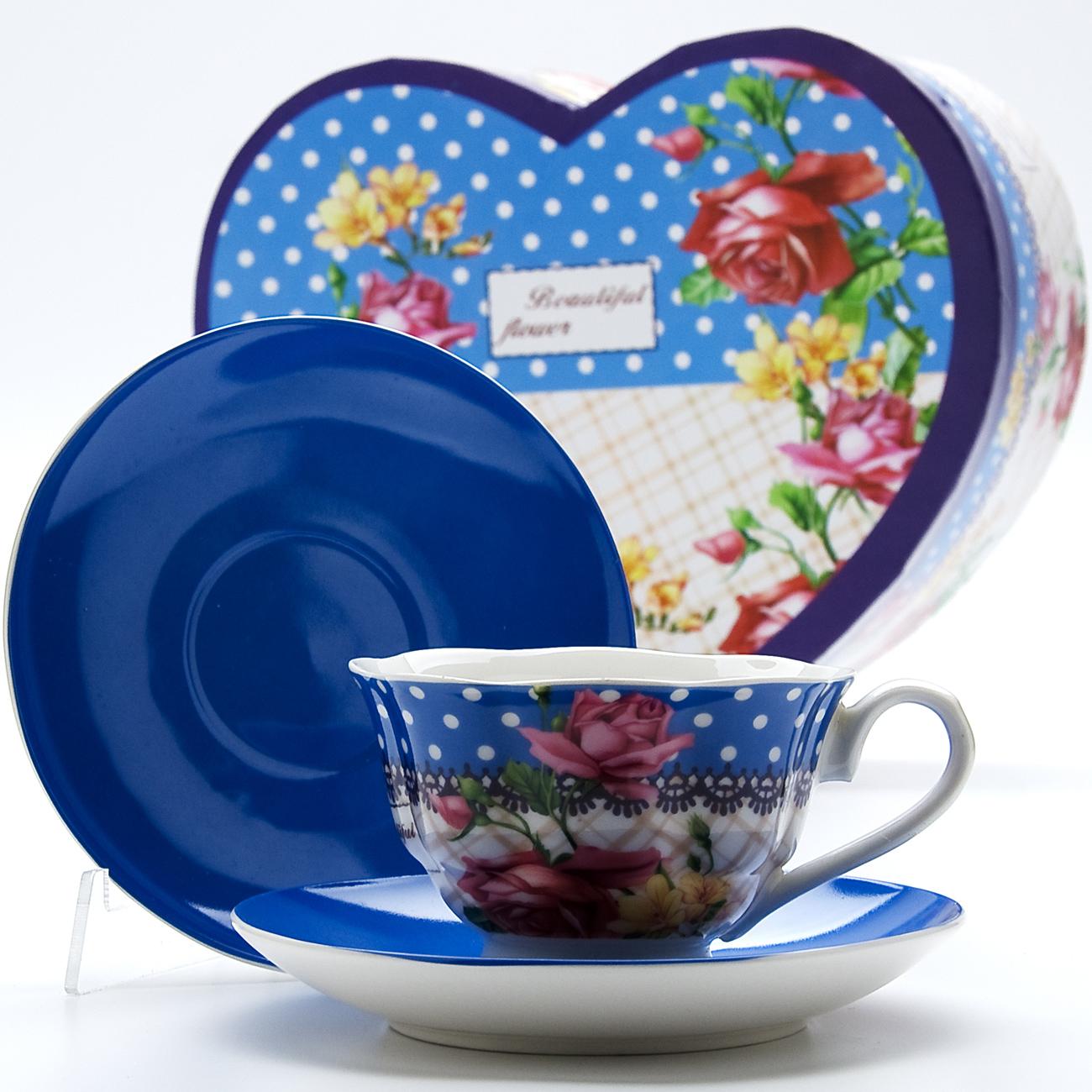 Чайная пара Mayer & Boch Букет, 4 предмета23003Материал: Костяной фарфор