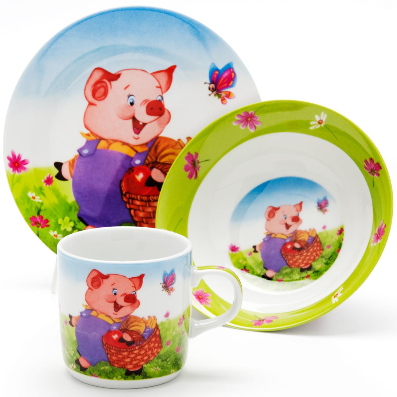 Набор посуды Loraine Поросенок, 3 предмета24019Набор посуды Пони сочетает в себе изысканный дизайн с максимальной функциональностью. В набор входят суповая тарелка, обеденная тарелка и кружка. Предметы набора выполнены из высококачественной керамики, декорированы красочным рисунком. Благодаря такому набору обед вашего ребенка будет еще вкуснее. Набор упакован в красочную, подарочную упаковку.