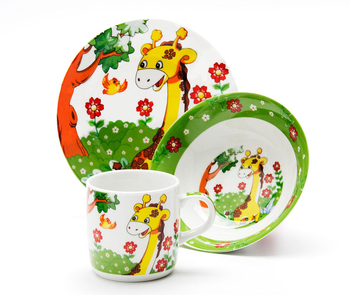 Набор посуды Loraine Жираф, 3 предмета24020Набор посуды Жираф сочетает в себе изысканный дизайн с максимальной функциональностью. В набор входят суповая тарелка, обеденная тарелка и кружка. Предметы набора выполнены из высококачественной керамики, декорированы красочным рисунком. Благодаря такому набору обед вашего ребенка будет еще вкуснее. Набор упакован в красочную, подарочную упаковку.