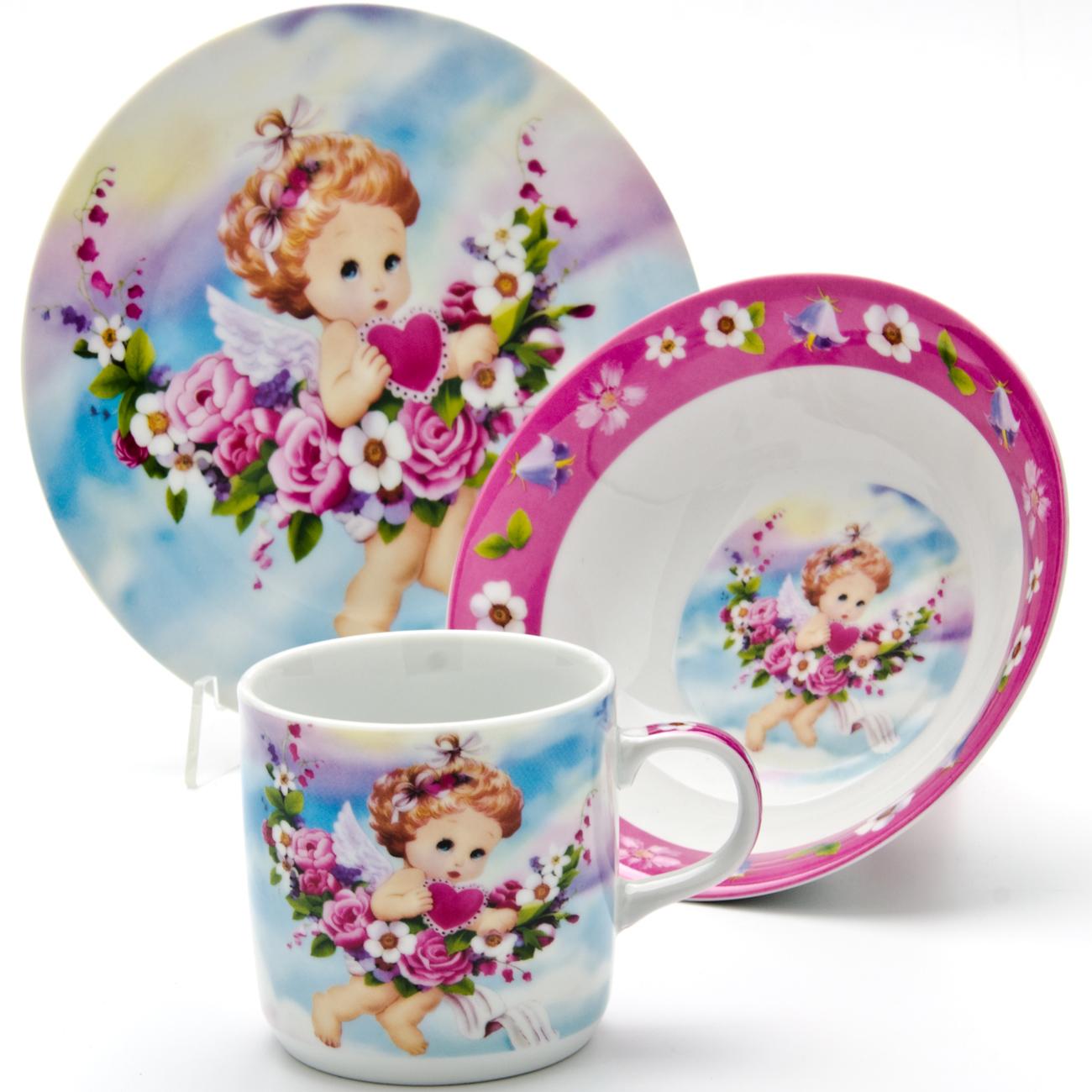 Набор посуды Loraine Ангел, 3 предмета24027Набор посуды Ангел сочетает в себе изысканный дизайн с максимальной функциональностью. В набор входят суповая тарелка, обеденная тарелка и кружка. Предметы набора выполнены из высококачественной керамики, декорированы красочным рисунком. Благодаря такому набору обед вашего ребенка будет еще вкуснее. Набор упакован в красочную, подарочную упаковку.