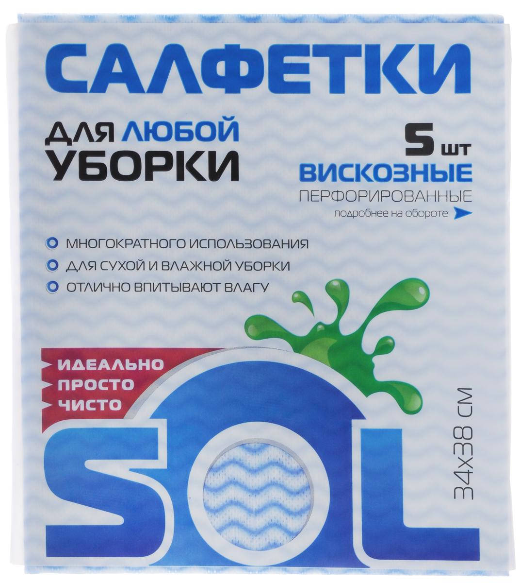 Салфетка для уборки Sol из вискозы, перфорированная, цвет: белый, голубой, 34 x 38 см, 5 шт10005/10053_голубойПерфорированные салфетки для уборки Sol, выполненные из вискозы, предназначены для уборки и могут применяться с различными моющими средствами. Эффективно впитывают жидкость. Мягкие и прочные, легко отжимаются и быстро сохнут. Рекомендации по уходу: Для обеспечения гигиеничности уборки после применения прополоскать в теплой воде. Для продления срока службы не применять машинную стирку, не гладить и не кипятить.