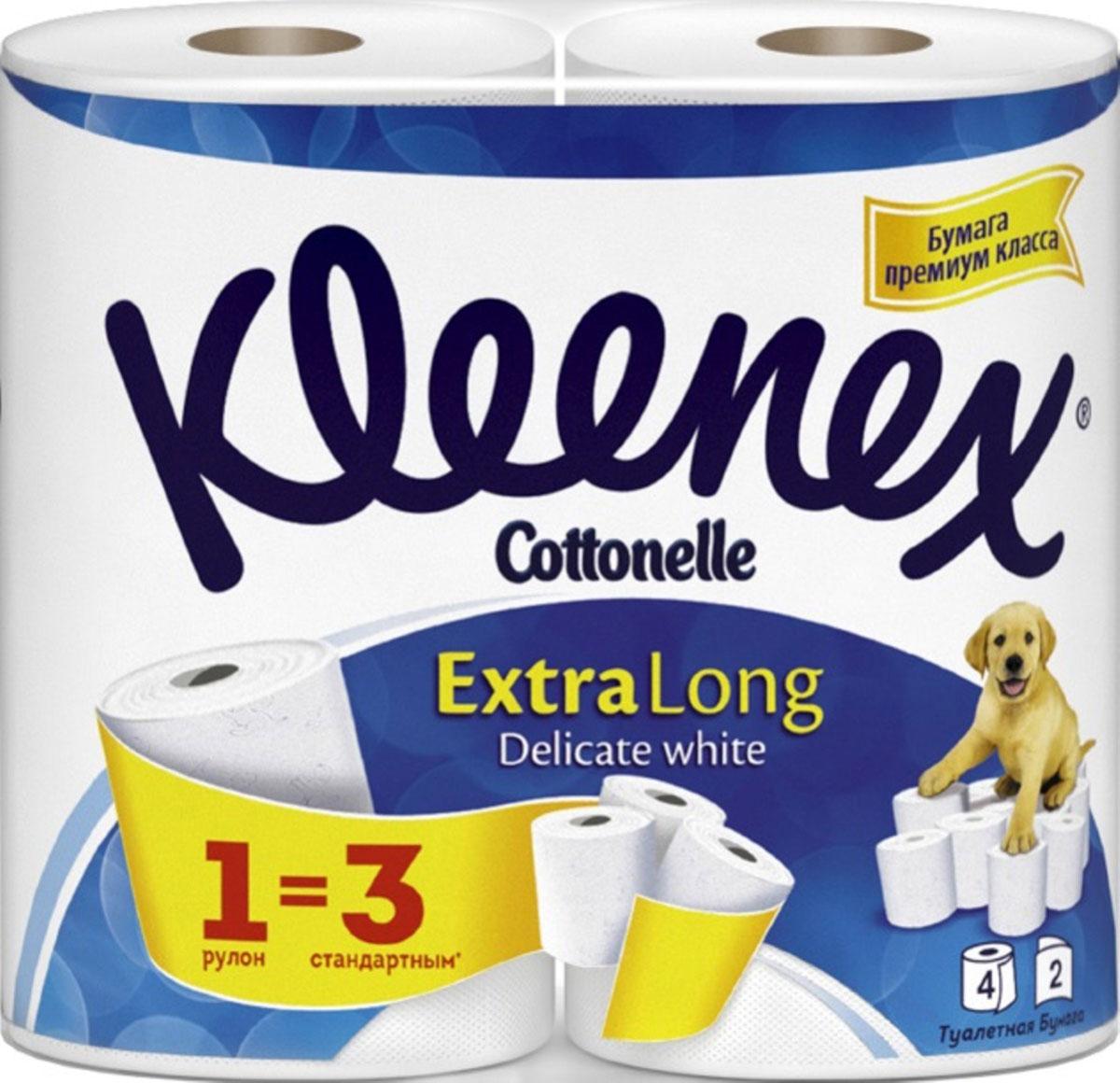 Kleenex Cottonelle Туалетная бумага Extra Long, двухслойная, цвет: белый, 4 рулона. 94500449450044_синяя упаковкаТуалетная бумага Kleenex Cottonelle Extra Long изготовлена из целлюлозы высшего качества. Двухслойные листы белого цвета имеют рисунок с тиснением. Мягкая, нежная, но в тоже время прочная, бумага не расслаивается и отрывается строго по линии перфорации.