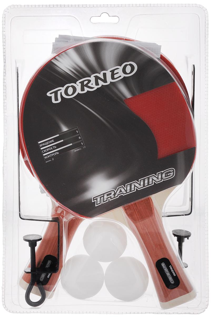 Набор для настольного тенниса Torneo Training, 6 предметовTI-BS301Прекрасный набор для игры в настольный теннис Torneo Training состоит из 2 ракеток, 3 мячей и сетки. Ракетка, изготовленная из прочных качественных материалов, удобно лежит в руке и гарантирует хорошее чувство мяча и наиболее комфортную игру. Подходит для любителей и начинающих игроков. Такая ракетка дает возможность тренировать вращение и скорость и переходить на более высокий уровень игры. Мячи выполнены из целлулоида. Сетка из прочного нейлона. В комплекте крепления, выполненные из стали. Форма рукоятки: вогнутая. Диаметр мячей: 3,5 см. Вращение: 5. Скорость: 6. Контроль: 5. Толщина основания: 6,5 мм. Толщина губки: 1,5 мм. Количество слоев основания: 7. Вес ракетки: 150 г.