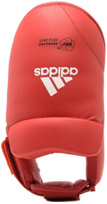 Защита стоп Adidas WKF Foot Protector, цвет: красный. 661.50. Размер M (39-41)661.50Защита стоп Adidas WKF Foot Protector с объемным наполнителем необходимы при занятиях спортом для защиты пальцев, суставов стопы от вывихов, ушибов и прочих повреждений. Накладки выполнены из высококачественного полиуретан PU3G. Накладки прочно фиксируются за счет эластичной ленты и липучки. Удобные и эргономичные накладки Adidas идеально подойдут для занятий карате и другими видами единоборств. Одобрены WKF.