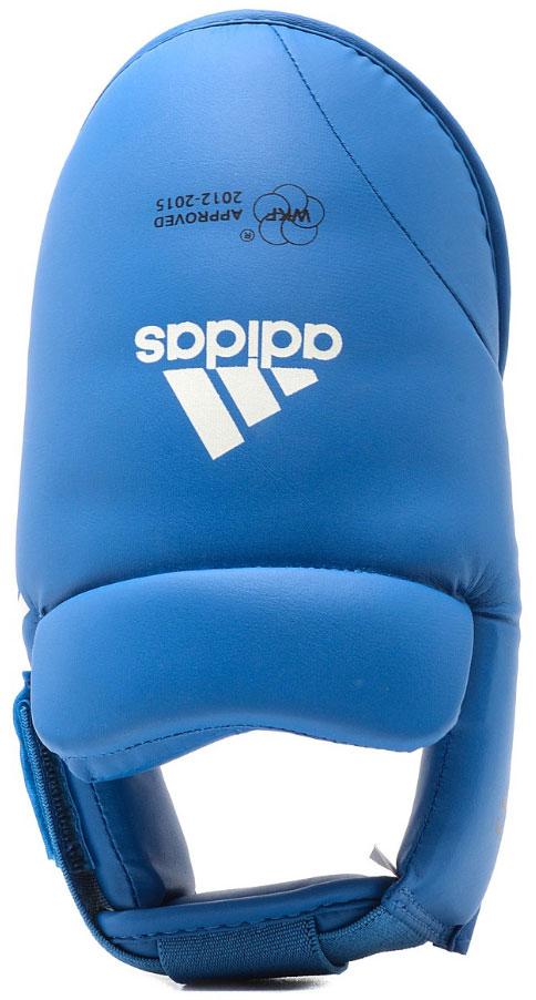 Защита стоп Adidas WKF Foot Protector, цвет: синий. 661.50. Размер M (39-41)661.50Защита стоп Adidas WKF Foot Protector с объемным наполнителем необходимы при занятиях спортом для защиты пальцев, суставов стопы от вывихов, ушибов и прочих повреждений. Накладки выполнены из высококачественного полиуретан PU3G. Накладки прочно фиксируются за счет эластичной ленты и липучки. Удобные и эргономичные накладки Adidas идеально подойдут для занятий карате и другими видами единоборств. Одобрены WKF.