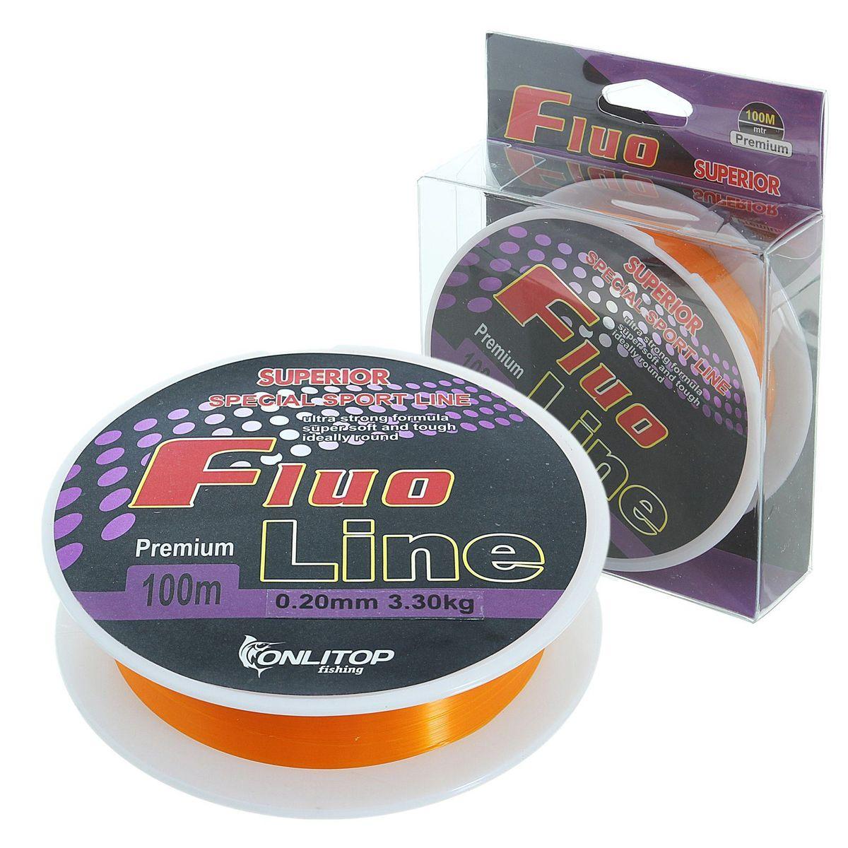 Леска Onlitop Fluo Line, цвет: оранжевый, 100 м, 0,2 мм, 3,3 кг1232670Во время технологического процесса волокна сплетаются и специально разработанным способом сплавляются в единое целое. В ходе такой обработки леска становится прочнее, чем совокупность составляющих ее волокон. Таким образом получается оптимальный синтез монофильной и плетеной лески.