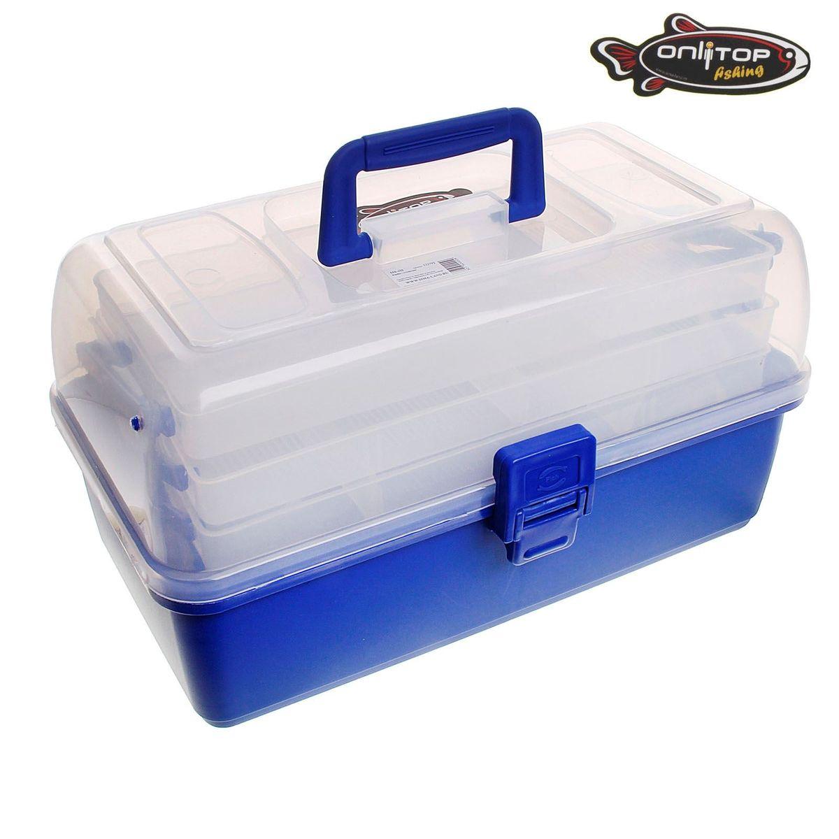 "Коробка для крючков и насадок ""Onlitop"", трехъярусная, цвет: синий, 17 х 34 х 20 см 132792"