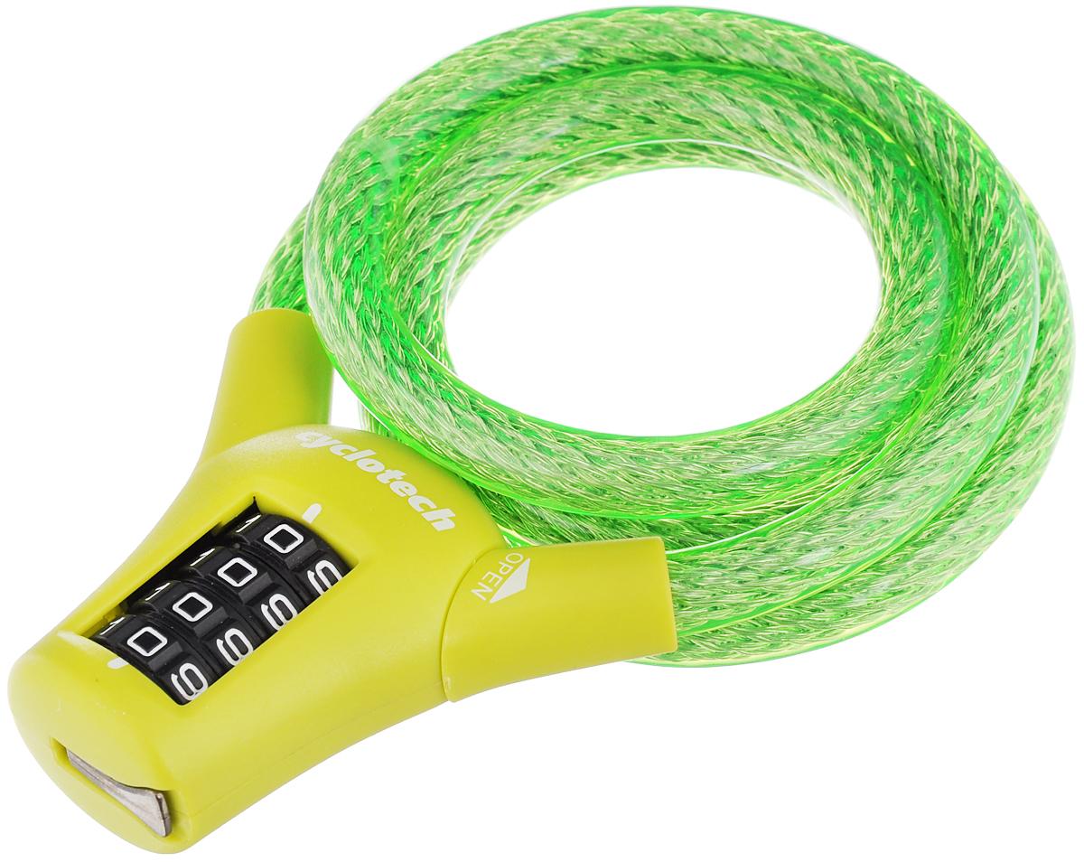 Велозамок кодовый Cyclotech, цвет: зеленый, салатовый, диаметр 1 см, длина 90 смCLK-3GRВелосипедный замок Cyclotech - это отличная вещь для сохранности вашего велосипеда. Замок, выполненный из прочного пластика, оснащен металлическим тросом обтянутым мягким ПВХ. Блокируется при помощи кода. Диаметр троса: 1 см. Длина: 90 см.