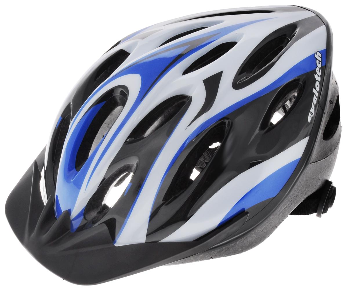 Шлем защитный Cyclotech, для занятий велоспортом, цвет: черный, белый, синий. Размер MCHLO-14MMЗащитный мужской шлем Cyclotech, предназначенный для занятий велоспортом, изготовлен по технологии Out-Mold, которая обеспечивает хорошее соотношение цены и качества. Шлем снабжен универсальным внутренним настроечным кольцом, застежками на липучках, регулируемыми текстильными ремешками, подстежкой и вентиляционными отверстиями. Увеличенное количество вентиляционных отверстий гарантирует отличную циркуляцию воздуха на разных скоростях движения при сохранении жесткости. Подстежка изготовлена из пенополистирола. Ее роль заключается в рассеивании энергии при ударе, что защищает голову. Верхняя часть шлема, выполненная из прочного пластика, препятствует разрушению изделия, защищает шлем от прокола и позволять ему скользит при ударах. Способность шлема скользить по поверхности является важной его характеристикой, так как при падении движение уменьшается не сразу, а постепенно, снижая тем самым нагрузку на голову и шею. Шлем...