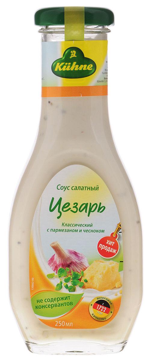 Kuhne American Caesar соус салатный цезарь, 256 г0560041Салатный соус Цезарь от Kuhne обладает характерным глубоким острым вкусом благодаря изысканному пармезану с добавлением чеснока.