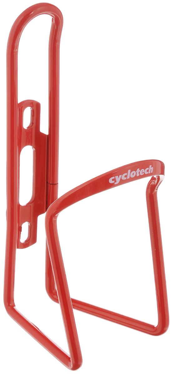 Флягодержатель Cyclotech, цвет: красныйCBH-1RУниверсальный флягодержатель Cyclotech, выполненный из прочного металла, способен удерживать не только велофлягу, но и обычные пластиковые бутылки, закрепляется на раме велосипеда с помощью двух шурупов (в комплект входят). Это незаменимая вещь для спортсменов и любителей длительных велосипедных прогулок. Благодаря держателю, фляга с водой будет у вас всегда под рукой.