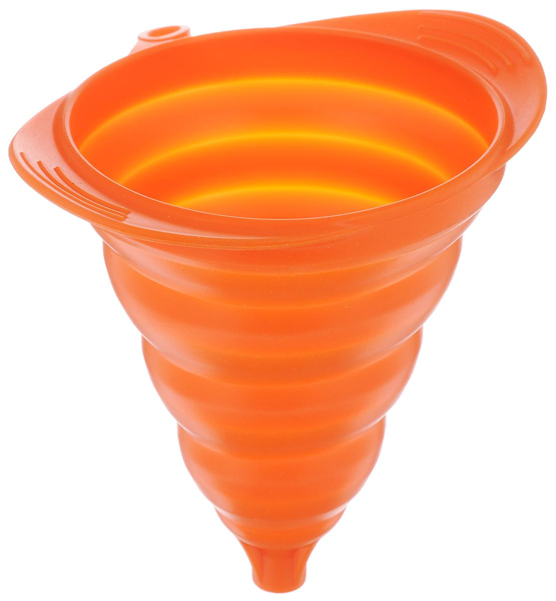 Воронка Mayer & Boch, силиконовая, складная, цвет: оранжевый, 16 х 13 см24621_оранжевыйВоронка Mayer & Boch изготовлена из высококачественного экологически чистого пищевого силикона. Предназначена для переливания как холодных, так и горячих жидкостей, а также для пересыпания сыпучих продуктов - соли, сухих приправ и т.д. Благодаря уникальной складывающейся конструкции подходит под емкости с различным диаметром горлышка и занимает мало места при хранении. Силикон выдерживает температуру от -40°С до 210°С. Можно мыть в посудомоечной машине. Размер воронки: 16 х 13 см. Высота в сложенном виде: 2 см.