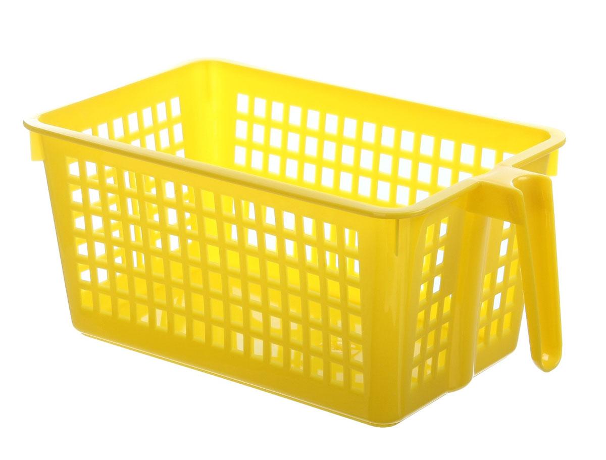 Корзинка универсальная Econova, с ручкой, цвет: желтый, 28 х 16 х 12 см847545_желтый