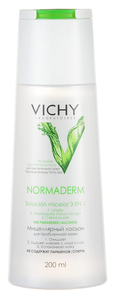 Vichy Мицеллярный Лосьон Normaderm, 200 млM3262100Тщательно и бережно удаляет все виды загрязнений, макияж и избыток кожного сала. Успокаивает чувствительную кожу. Подходит для снятия макияжа с глаз. Не требует смывания водой.