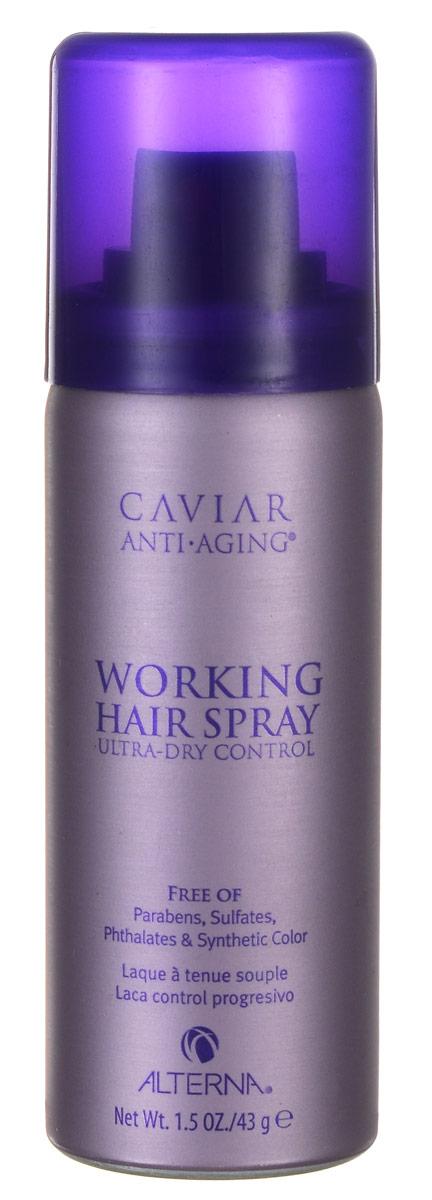 Alterna Лак подвижной фиксации Caviar Anti-Aging Working Hair Spray - 50 мл60030Ультра сухой лак для волос с экстрактом черной икры Alterna Caviar Anti-Aging Working Hair Spray работает на клеточном уровне, увеличивая упругость и эластичность Ваших волос. Он восстанавливает оптимальный баланс увлажнения волос и делает их послушными. Аэрозольный ультра сухой лак помогает минимизировать видимые повреждения волос, произошедшие по причине воздействия солнечного излучения, окружающей среды, экологических и химических факторов. Результат: Ультра сухой лак для волос с экстрактом черной икры обладает влагостойкими свойствами, обеспечивает прогрессивный контроль над волосами и помогает создать нежную укладку для волос. Гарантирует волосам идеальную расчесываемость.
