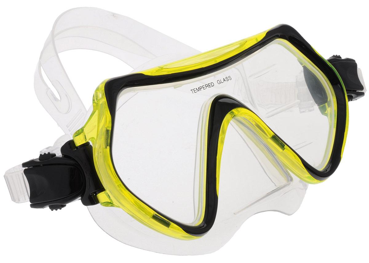 """Маска для плавания """"Joss"""", цвет: желтый, черный, прозрачный"""