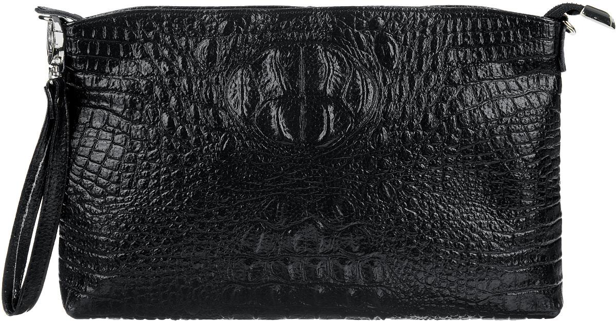 Сумка-клатч женская Cheribags, цвет: черный. 618-10618-10Стильная женская сумка-клатч Cheribags выполнена из натуральной кожи с тиснением под крокодила. Изделие имеет одно основное отделение, разделенное пополам карманом-средником на застежке-молнии. Закрывается сумка-клатч на застежку-молнию. Внутри расположены два накладных открытых кармана и прорезной карман на застежке-молнии. Снаружи, на задней стенке расположен прорезной карман на застежке-молнии. Изделие оснащено съемным регулируемым наплечным ремнем и съемным ремешком на запястье. Роскошная сумка-клатч внесет элегантные нотки в ваш образ и подчеркнет ваше отменное чувство стиля.