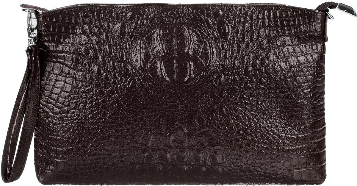 Сумка-клатч женская Cheribags, цвет: темно-коричневый. 618-20618-20Стильная женская сумка-клатч Cheribags выполнена из натуральной кожи с тиснением под крокодила. Изделие имеет одно основное отделение, разделенное пополам карманом- средником на застежке-молнии. Закрывается сумка-клатч на застежку-молнию. Внутри расположены два накладных открытых кармана и прорезной карман на застежке-молнии. Снаружи, на задней стенке расположен прорезной карман на застежке-молнии. Изделие оснащено съемным регулируемым наплечным ремнем и съемным ремешком на запястье. Роскошная сумка-клатч внесет элегантные нотки в ваш образ и подчеркнет ваше отменное чувство стиля.