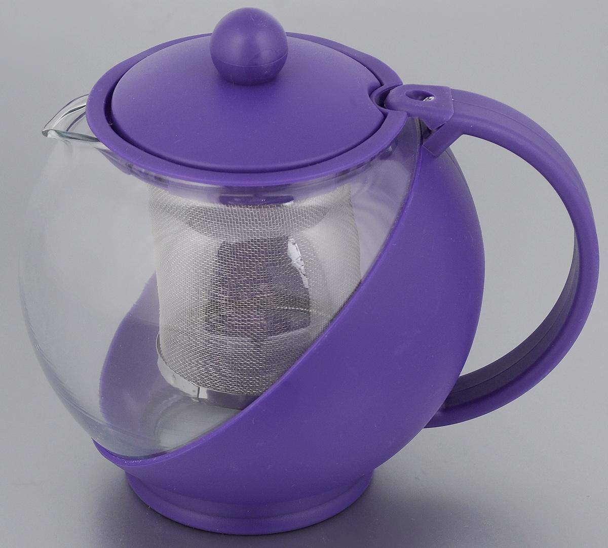 Чайник заварочный Mayer & Boch, с фильтром, цвет: прозрачный, фиолетовый, 750 мл. 2573825738_фиолетовыйЗаварочный чайник Mayer & Boch изготовлен из жаропрочного стекла и полипропилена. Чай в таком чайнике дольше остается горячим, а полезные и ароматические вещества полностью сохраняются в напитке. Чайник оснащен фильтром из нержавеющей стали и крышкой. Простой и удобный чайник поможет вам приготовить крепкий, ароматный чай. Диаметр чайника (по верхнему краю): 8 см. Высота чайника (без учета крышки): 11,5 см. Высота фильтра: 7,2 см.