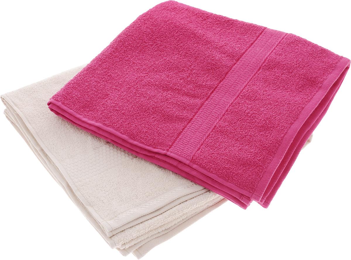 Набор махровых полотенец Aisha Home Textile, цвет: бежевый, малиновый, 70 х 140 см, 2 штУзТ-ПМ-104-03-28_малиновыйНабор Aisha Home Textile состоит из двух махровых полотенец, выполненных из натурального 100% хлопка. Изделия отлично впитывают влагу, быстро сохнут, сохраняют яркость цвета и не теряют формы даже после многократных стирок. Полотенца Aisha Home Textile очень практичны и неприхотливы в уходе. Комплектация: 2 шт.