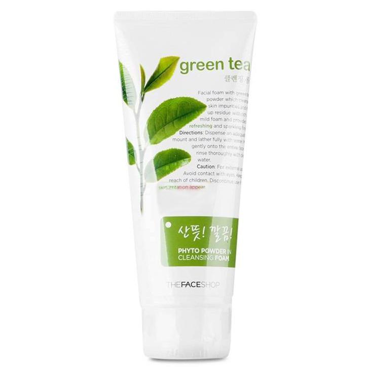 The Face Shop Пенка для умывания с экстрактом зеленого чая Phyto Powder, 170 млУТ000001687Подходит для нормальной и жирной кожи, содержит экстракт зеленого чая и порошок, который обеспечивает эффект массажа и освежает кожу.Улучшает цвет лица. Устраняет покраснение кожи и чрезмерную жирность. Борется с угревой сыпью. Очищает и сужает поры кожи. Смягчает и разглаживает кожу. Борется с преждевременным старением и увяданием кожи. Защищает от воздействия негативных факторов окружающей среды