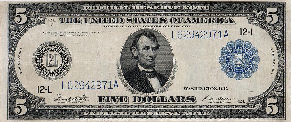 Банкнота номиналом 5 долларов. США, 1914 год791504Размеры 18,8 х 7,85 см. Сохранность очень хорошая, заломы.