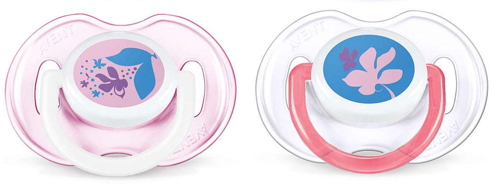 Philips Avent Пустышка силиконовая классическая Цветочки от 0 до 6 месяцев 2 шт SCF195/03