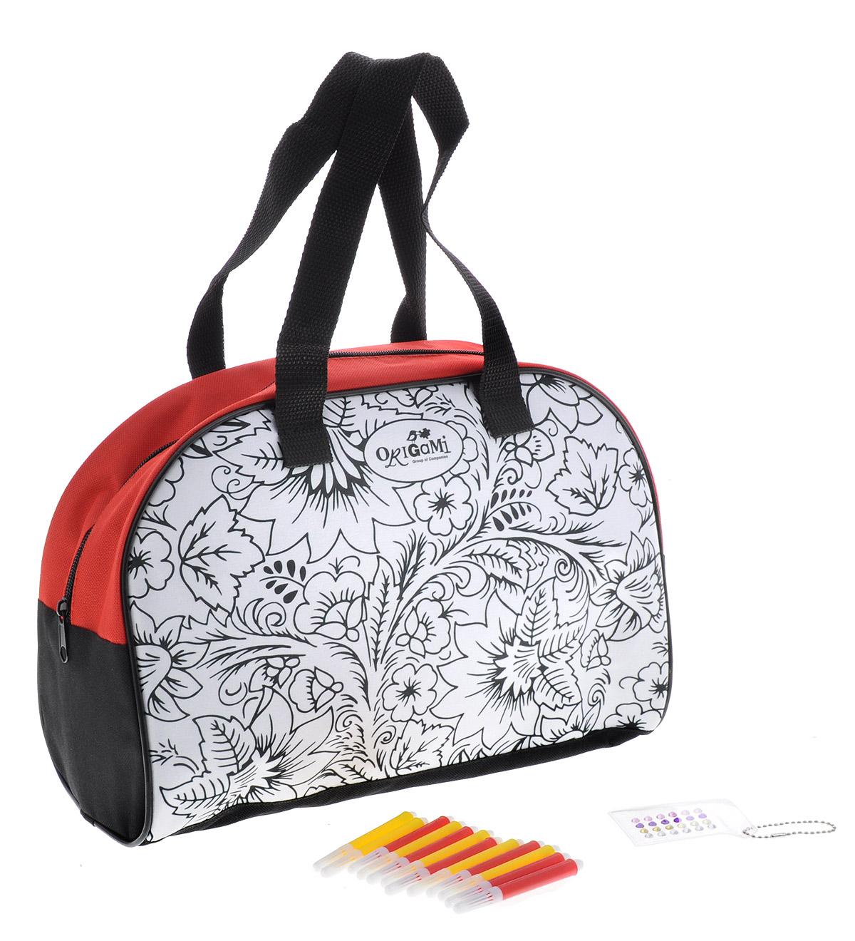 Набор для творчества Origami Раскрашиваем сумку: хохломаAST000000000171086Набор Origami Раскрашиваем сумку: хохлома, несомненно, порадует любую девочку и надолго займет ее внимание. Набор содержит сумку для раскрашивания с авторским дизайном, выполненным в стиле хохломской росписи, 5 водостойких маркеров (сиреневого, желтого, салатового, голубого и розового цветов) и самоклеящиеся украшения для декорирования. Сумка с двумя удобными ручками выполнена из прочного полиэстера; закрывается на застежку-молнию. Повседневная вместительная сумка незаменима для любительниц активного отдыха, путешествий и прогулок по городу. С помощью элементов набора ваш ребенок сможет самостоятельно создать эксклюзивную сумку на свой вкус и цвет, а простая инструкция покажет, как это сделать. Набор Origami Раскрашиваем сумку: хохлома помогает развить мелкую моторику рук, развивает цветовое восприятие, а также воспитывает художественный вкус.