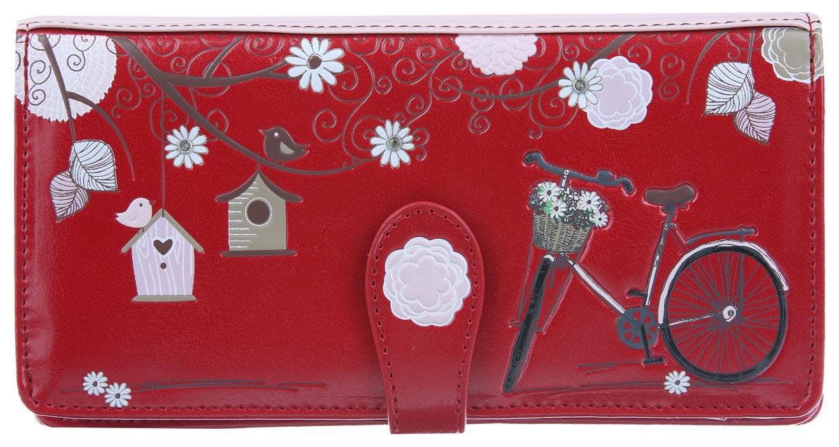 Кошелек женский VelVet, цвет: темно-красный, розовый. 025-041290-327025-041290-327Стильный женский кошелек VelVet, выполненный из высококачественной искусственной кожи, оформлен оригинальным принтом и дополнен стразами. Изделие имеет два отделения. Одно из отделений, закрывающееся на хлястик с магнитной кнопкой, содержит два отделения для купюр, карман для документов и двенадцать кармашков для визиток и пластиковых карт, один из которых с прозрачным окошком. Второе отделение на застежке-молнии предназначено для мелочи. Кошелек упакован в фирменную коробку. Такой оригинальный кошелек порадует вас стилем и функциональностью.
