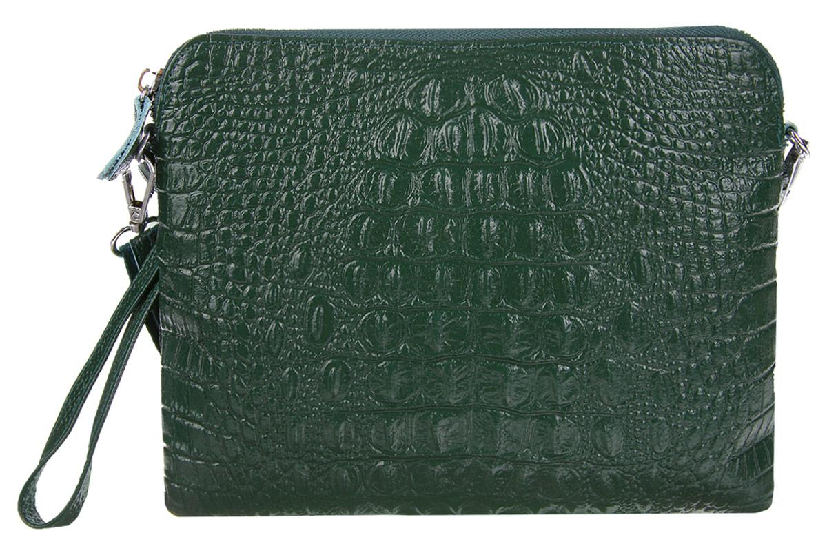 Сумка-клатч женская Cheribags, цвет: темно-зеленый. 2167-142167-14Стильная женская сумка-клатч Cheribags выполнена из натуральной кожи с тиснением под крокодила. Изделие имеет одно основное отделение, разделенное пополам карманом- средником на застежке-молнии. Закрывается сумка-клатч на застежку-молнию. Внутри расположен прорезной карман на застежке-молнии. Снаружи, на задней стенке расположен прорезной карман на застежке-молнии. Изделие оснащено съемным ремешком на запястье. В комплект входит съемный регулируемый наплечный ремень. Роскошная сумка-клатч внесет элегантные нотки в ваш образ и подчеркнет ваше отменное чувство стиля.
