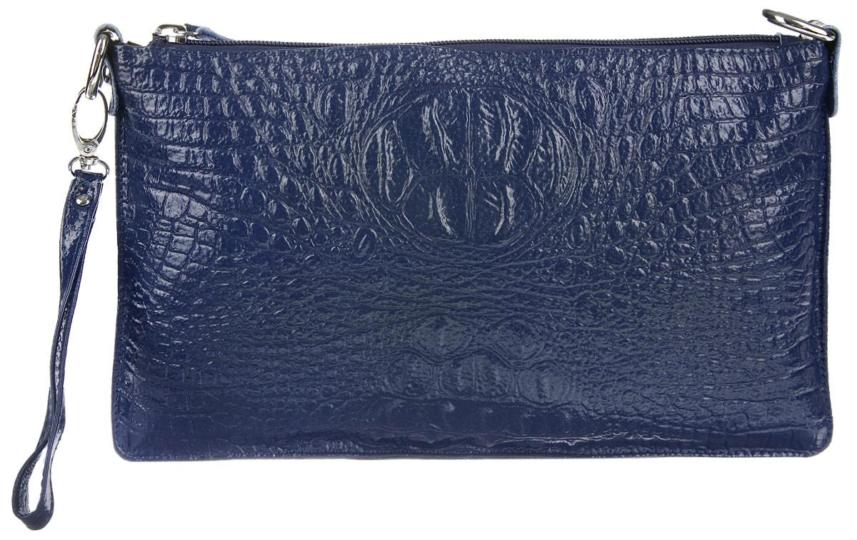 Сумка-клатч женская Cheribags, цвет: темно-синий. 618-17618-17Стильная женская сумка-клатч Cheribags выполнена из натуральной кожи с тиснением под крокодила. Изделие имеет одно основное отделение, разделенное пополам карманом- средником на застежке-молнии. Закрывается сумка-клатч на застежку-молнию. Внутри расположены два накладных открытых кармана и прорезной карман на застежке-молнии. Снаружи, на задней стенке расположен прорезной карман на застежке-молнии. Изделие оснащено съемным регулируемым наплечным ремнем и съемным ремешком на запястье. Роскошная сумка-клатч внесет элегантные нотки в ваш образ и подчеркнет ваше отменное чувство стиля.
