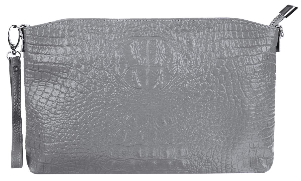 Сумка-клатч женская Cheribags, цвет: светло-серый. 619-21619-21Стильная женская сумка-клатч Cheribags выполнена из натуральной кожи с тиснением под крокодила. Изделие имеет одно основное отделение, разделенное пополам карманом- средником на застежке-молнии. Закрывается сумка-клатч на застежку-молнию. Внутри расположены два накладных открытых кармана и прорезной карман на застежке-молнии. Снаружи, на задней стенке расположен прорезной карман на застежке-молнии. Изделие оснащено съемным ремешком на запястье. В комплект входит съемный регулируемый наплечный ремень. Роскошная сумка-клатч внесет элегантные нотки в ваш образ и подчеркнет ваше отменное чувство стиля.