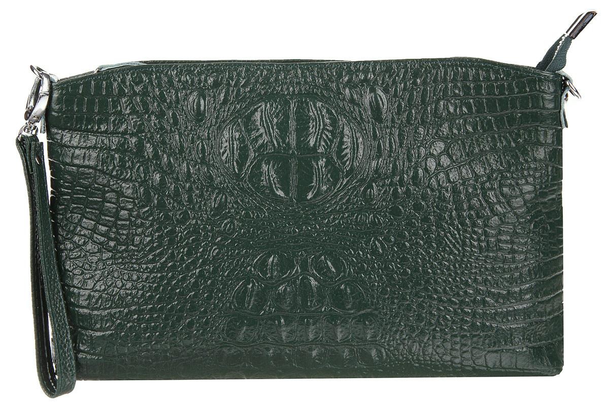 Сумка-клатч женская Cheribags, цвет: темно-зеленый. 619-14619-14Стильная женская сумка-клатч Cheribags выполнена из натуральной кожи с тиснением под крокодила. Изделие имеет одно основное отделение, разделенное пополам карманом- средником на застежке-молнии. Закрывается сумка-клатч на застежку-молнию. Внутри расположены два накладных открытых кармана и прорезной карман на застежке-молнии. Снаружи, на задней стенке расположен прорезной карман на застежке-молнии. Изделие оснащено съемным ремешком на запястье. В комплект входит съемный регулируемый наплечный ремень. Роскошная сумка-клатч внесет элегантные нотки в ваш образ и подчеркнет ваше отменное чувство стиля.