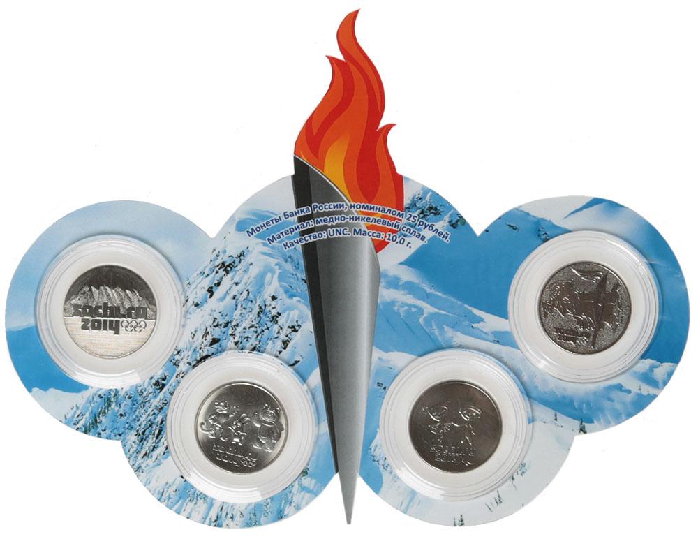 Планшет Факел с 4 монетами номиналом 25 рублей 2014 года Олимпиада в Сочи 2014, на подставке. Россия, 2015 год791504Диаметр монет: 2,7 мм Материал: медь-никель Размер планшета: 200 х 150 мм Материал планшета: пластик